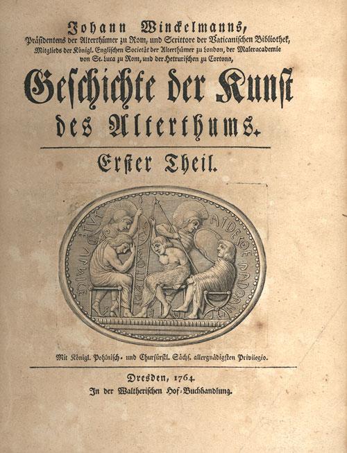 Il frontespizio della prima edizione dell'opera di Winckelmann